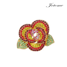 Wholesale Womens Wedding Jewelry Gold Brooch Pins Rhinestone Brooch Plant Rose Flower Crystal Brooches