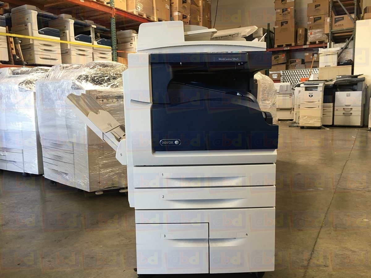 Refurbished Xerox WorkCentre 5945 Tabloid Black-and-white Multifunction Printer - 45 ppm, Copy, Print, Scan, Center Offsetting Tray, 2 Trays, High Capacity Tandem Tray