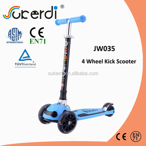 Patented 2017 new designed kids 4 wheel roller scooter plug in aluminum T bar custom scooters for sale