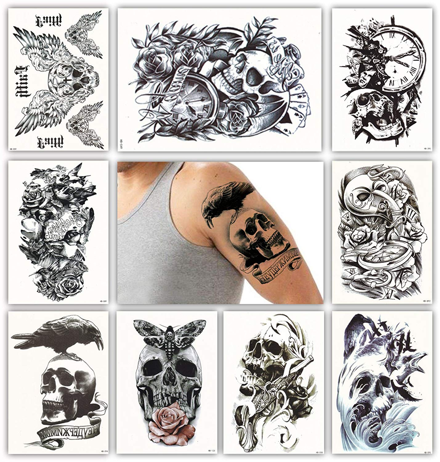 Waterproof Temporary Tattoo Sticker Skull Head Rose Clock Full Arm Fake Tatto Flash Tatoo Sleeve Large Size For Men Women Lady Factory Direct Selling Price Beauty & Health
