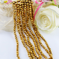 Glass metallic gold crystal beads 1mm 2mm 3mm factory wholesale beads