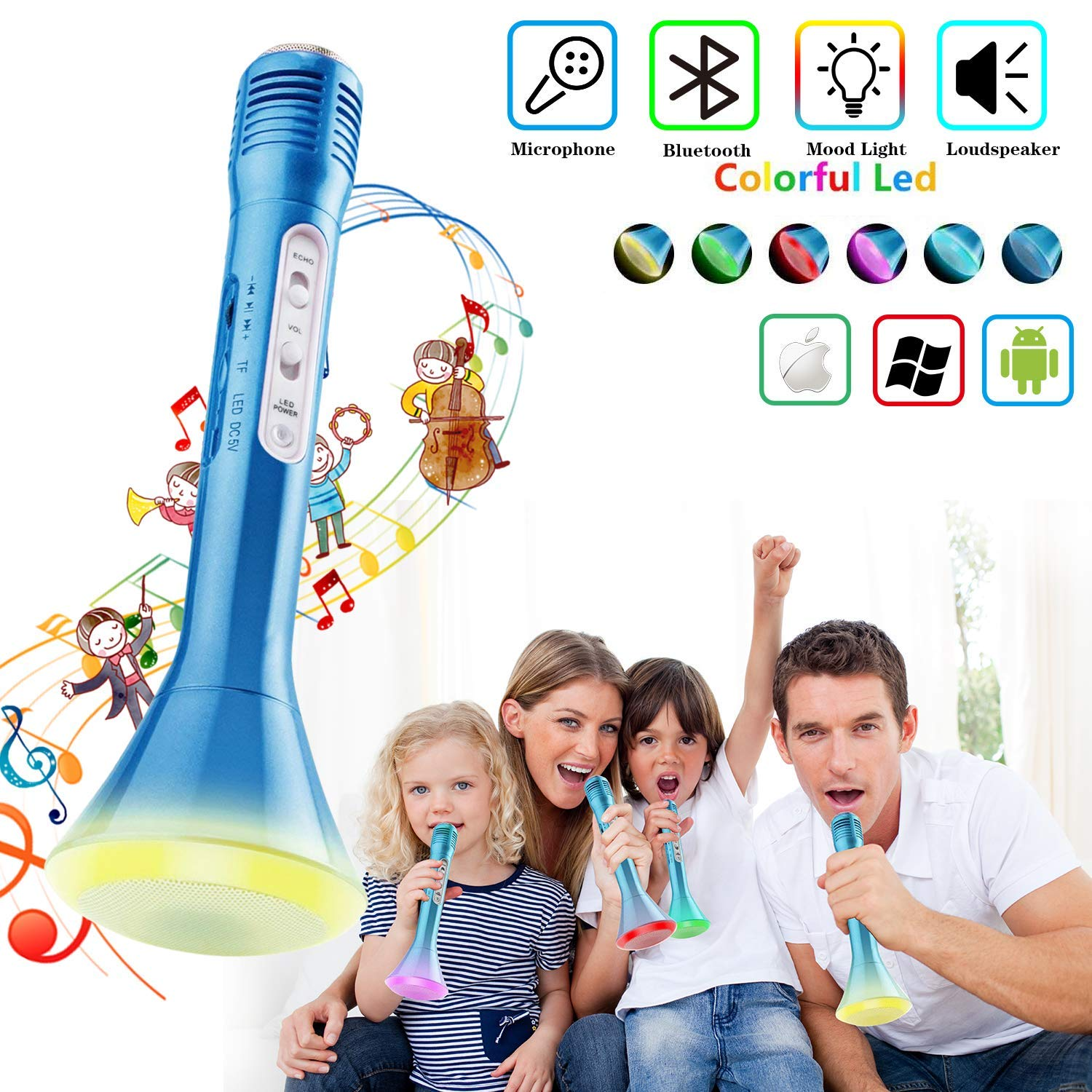 Girls Karaoke Machine Toys Music Player with Microphone and Lights Car Guardiance Kids Karaoke Machine Battery Operated Portable Singing Machine with Adorable Sing-Along Boom Box for Girls