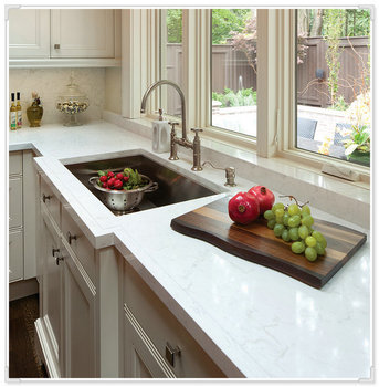 Kitchen Countertop Crystal White Quartz Piezoelectric Rough Product On