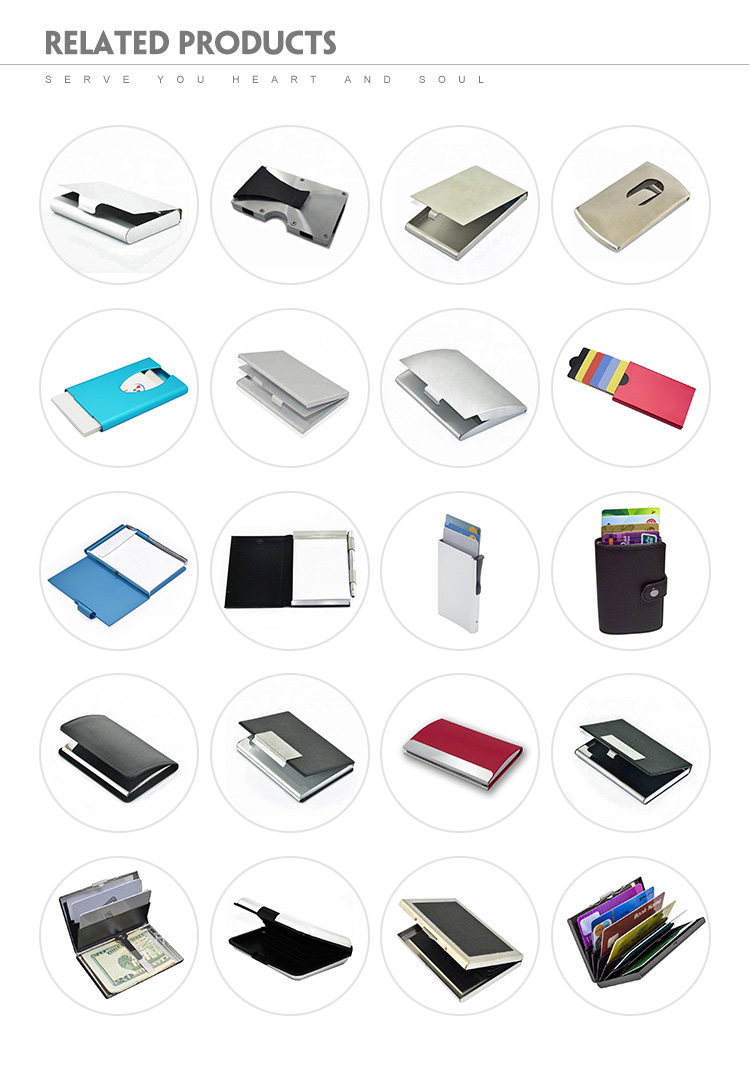 Rfid blocking custom aluminum material premium leather card holder