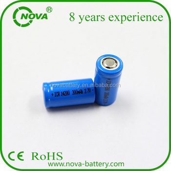 Icr 14280 3.7v Li-ion Battery 300mah Rechargeable Battery