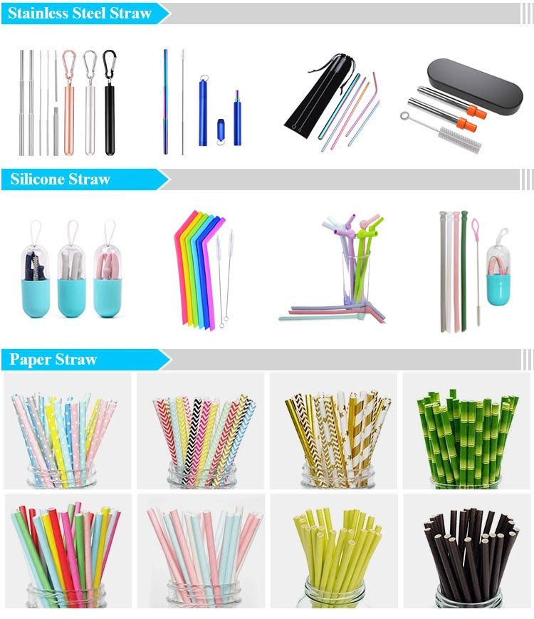 Good Quality Long Drinking Reusable Telescopic Stainless Steel Collapsible Straw with Brush In A Case