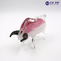 Artware Handmade Col. Pot Glass Ornament of bull shape with Chinese traditional drawing and painting effect