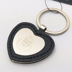 Free Design maker Wholesale Custom black red leather metal Evil Eye heart shape Keychain