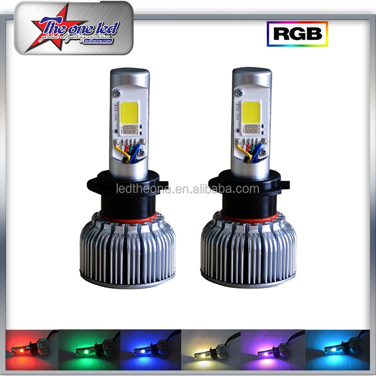 סיטונאי סופר מואר H7 RGB רכב LED פנס עם שליטת Bluetooth 36 W 3600LM 6000 K 12 V 24 V H4 LED פנס לטויוטה משאלות