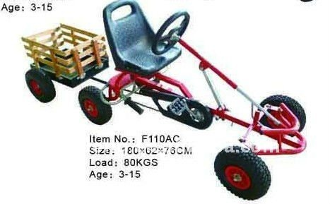 Hot sell kids mini go kart F110AC with wooden trailer,CE certfficate for kids 3-15 years old