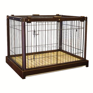 Nut-brown Rubber Wood Dog Kennel Iron Fence Pet Cage