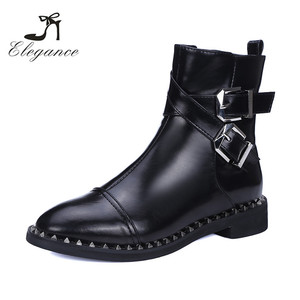2018 Ladies Cool Black Leather Studded Rivets Low Heel Motorbike Biker Boots Woman