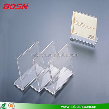 customized clear acrylic card mockup holder lucite perspex table