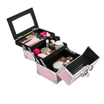 Double door pink aluminum fancy makeup vanity box