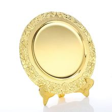 Factory supply OEM quality decorative metal crafts Fashionable design gold color plated souvenir plate