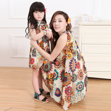 Clothes for mother and daughter summer 2015 family fashion chiffon skirt one piece dress fashion personality