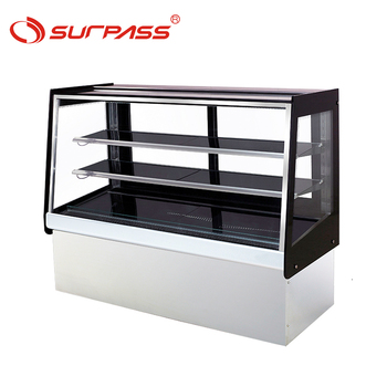 Good quality Beveled Glass 2 Shelves Cake Showcase Display Fridge