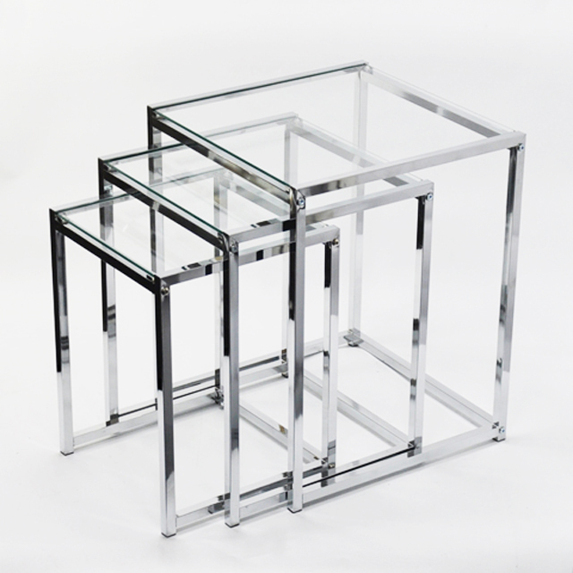 3 Tiers Clear Gl Round Folding Coffee Table