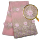 Quality pink bridal applique 3D lace dress fabric hand cut wedding embroidery lace with beaded fabric 5yards/piece