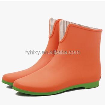 bd6bd274 Último corte bajo botas de goma naranja impermeable zapatos de mujer 2015