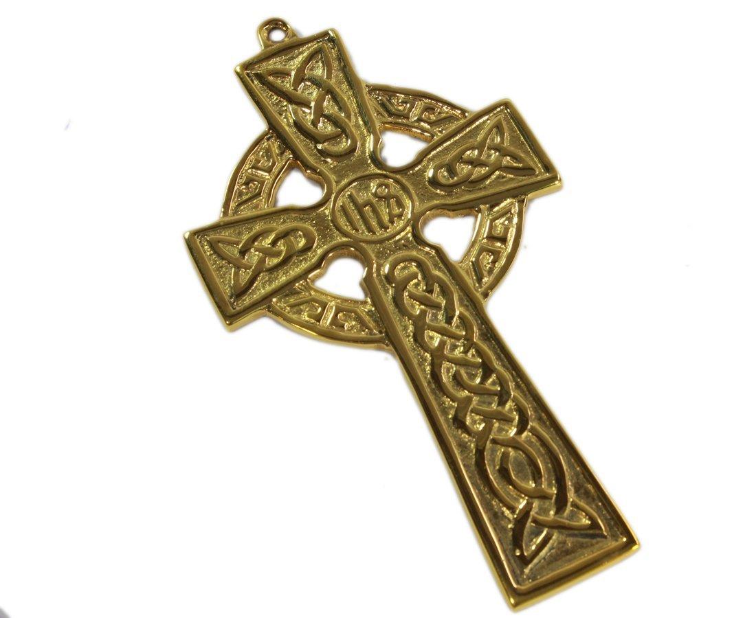 "Celtic Cross Wall Hanging Brass ""IHS"""