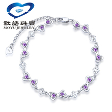 purple clear zircon 925 stamped Sterling Silver linked heart square four star Bracelet for women gift