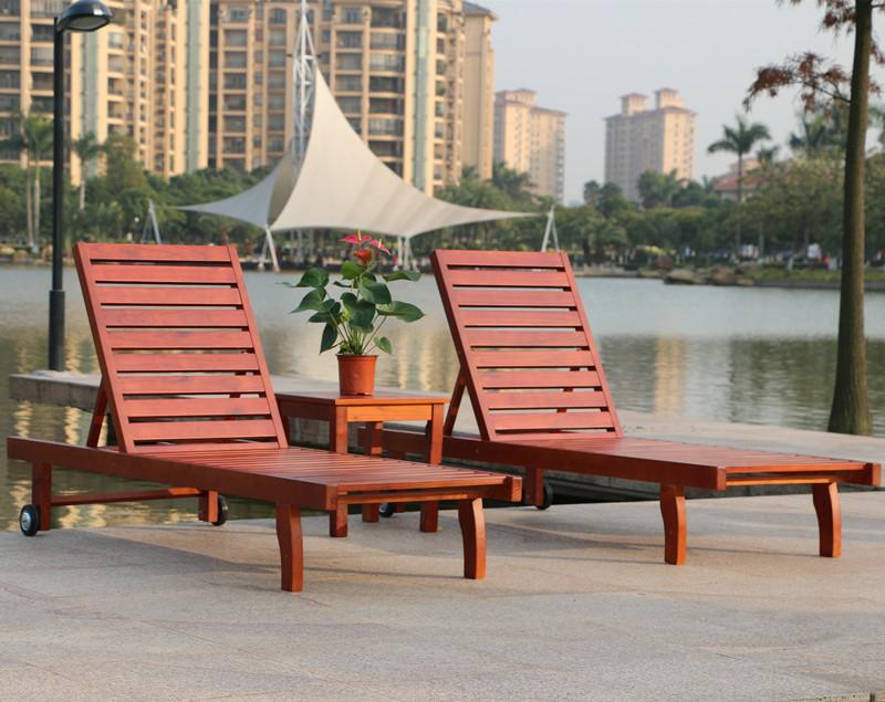 Rattan Yixuan Outdoor Wood Deck Chair Recliner Lounge