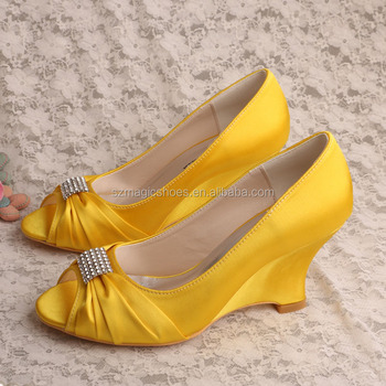 21 Colors P Toe Wedge Shoes Bride Yellow