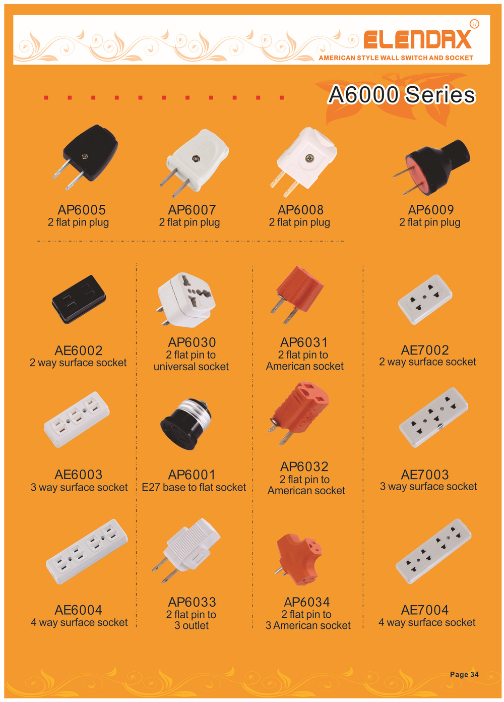 Philippines standard 2 gang Flat Outlet AE6002 View flat outlet