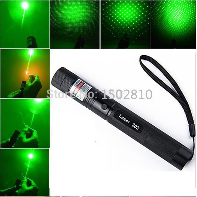 JSHFEI Hot! green laser pointers 500mw 532nm high power lasers 303 presenter Burning Matches & Light Cigarettes en la promocion