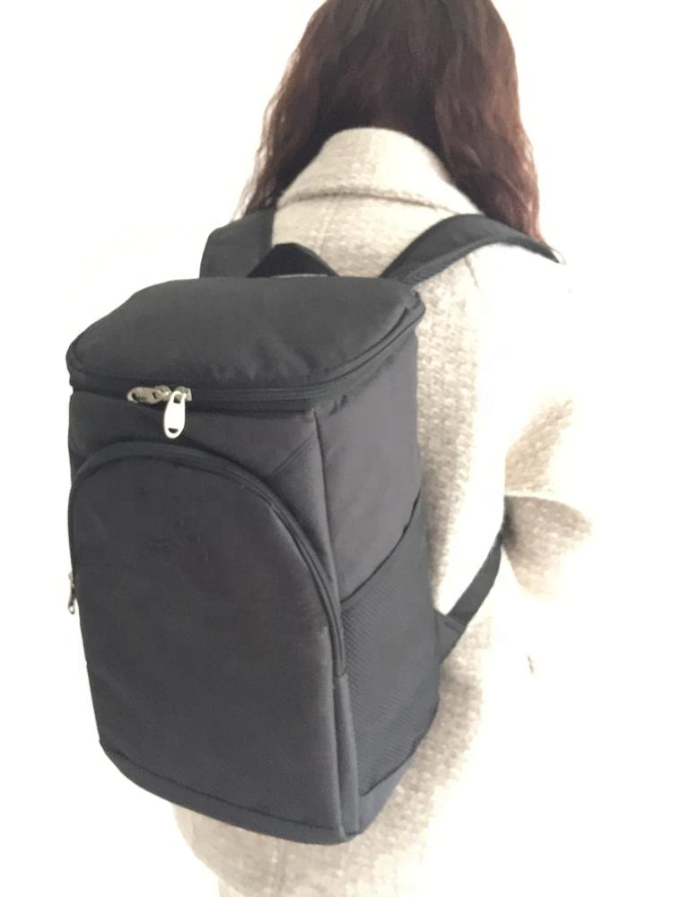 Custom Fashion Thick Hiking Black Picnic Lunch Back Pack Bag Insulated Cooler Backpack With Pocket