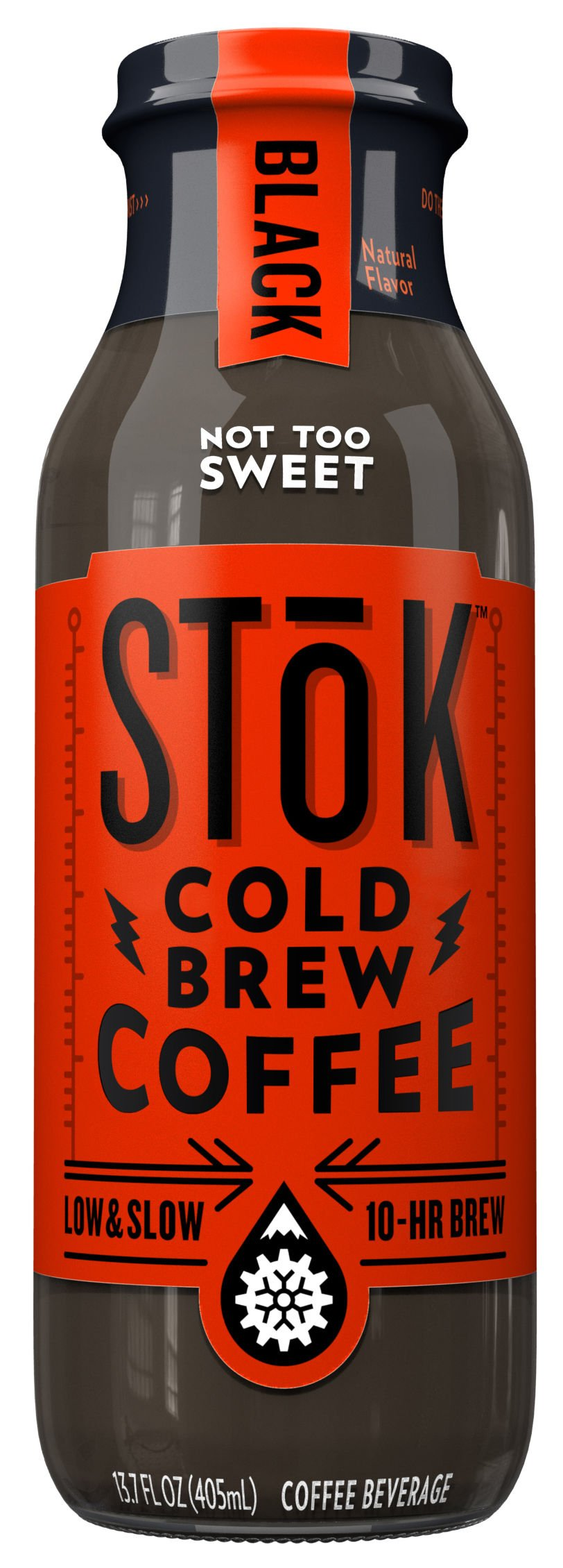 SToK Cold-Brew Iced Coffee, Black Not Too Sweet, 13.7 Ounce Bottle (Pack of 12) 10-Hour Brew Cold-Brew Arabica-Based Coffee, Lightly Sweetened, Ready-to-Drink Coffee to Pour over Ice or Drink Hot