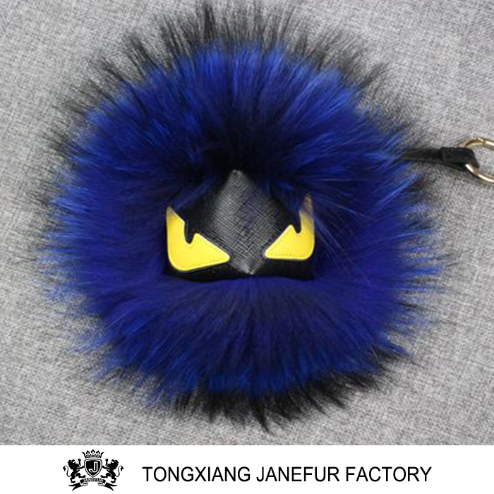 Cute style real raccoon fur toy car monster keychain