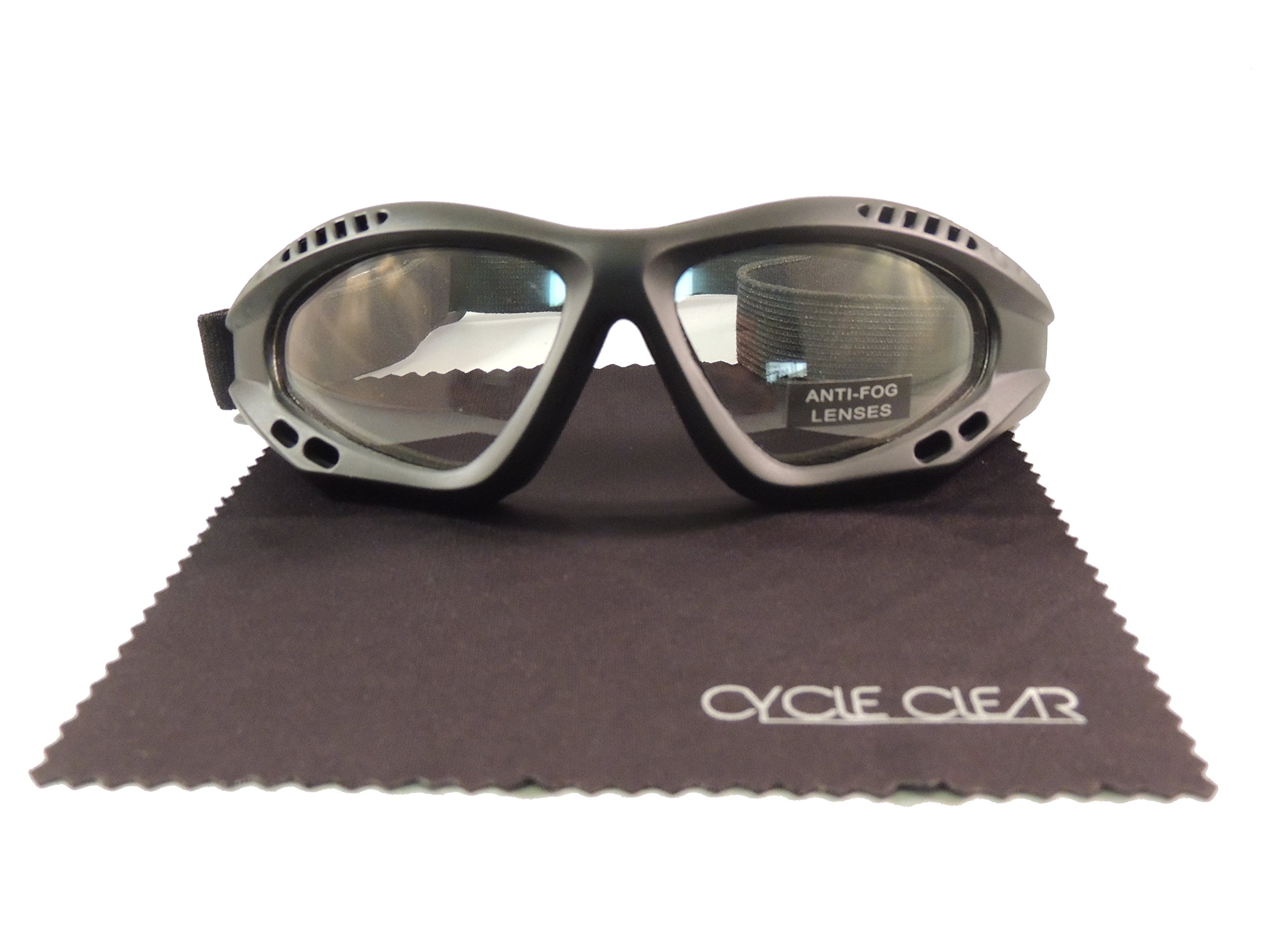 5aa102237e Get Quotations · Cycle Clear Clear Tinted Motorcycle Goggles - Wind Proof  Motorcycle Goggles Will Keep You Tear Free