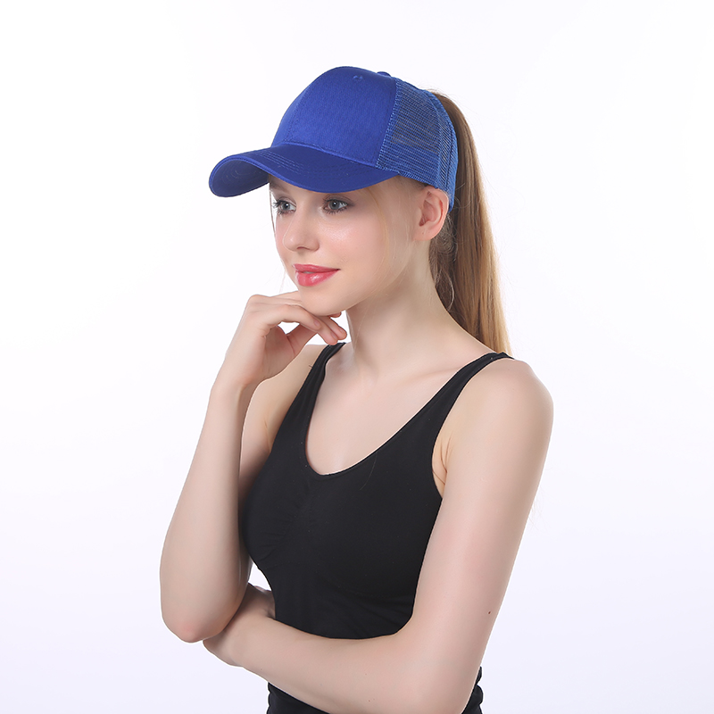 Fashion Running 6 Panel Women's Golf Hat Custom Full Trucker Mesh Sun Visor Sport Ponytail Baseball Cap