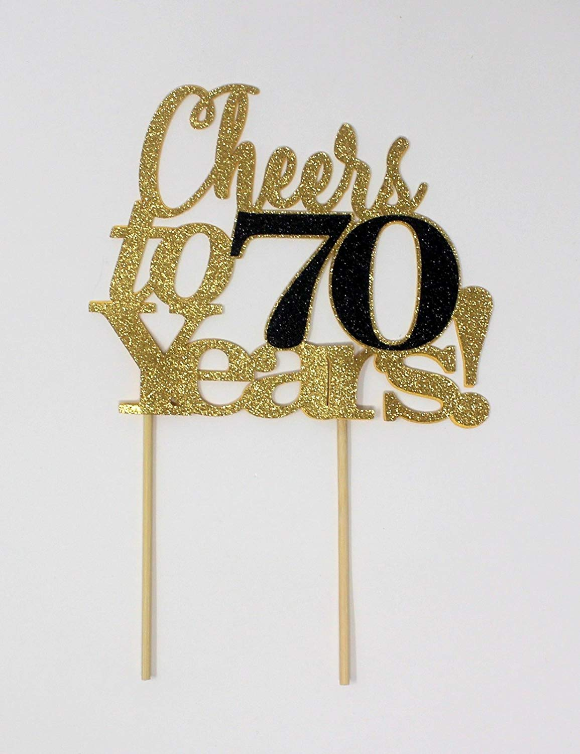All About Details Cheers to 70 Years! Cake Topper,1pc, 70th Birthday, Anniversary, Party Decor, Glitter Topper (Gold & Black)