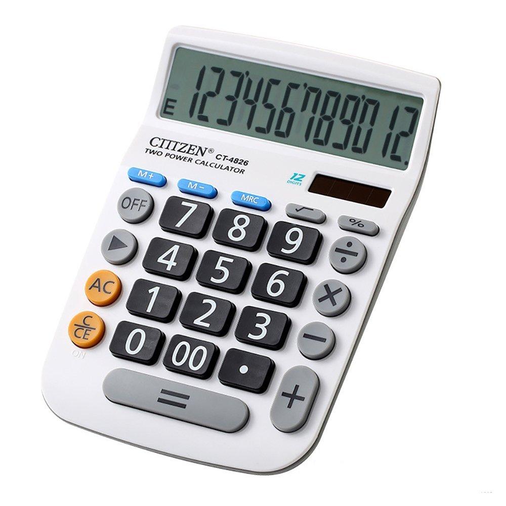 Electronic Desktop Calculator with 12-digit Large Display, Solar and AA Battery Dual Power Standard 12-Digit Big Display Handheld Function Desktop Calculator (White 2)