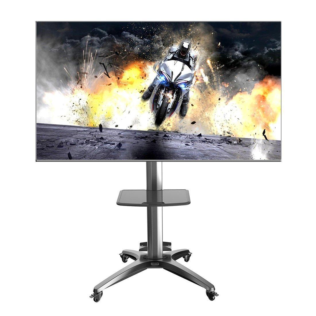 "Fleximounts C04 Adjustable Sturdy Heavy Duty Universal Rolling Mobile Tv Cart for 32''-55'' Flat Screen Monitors Stand with Tilting Tv Bracket & Plastic DVD Shelf(C04 B 32""-55"")"