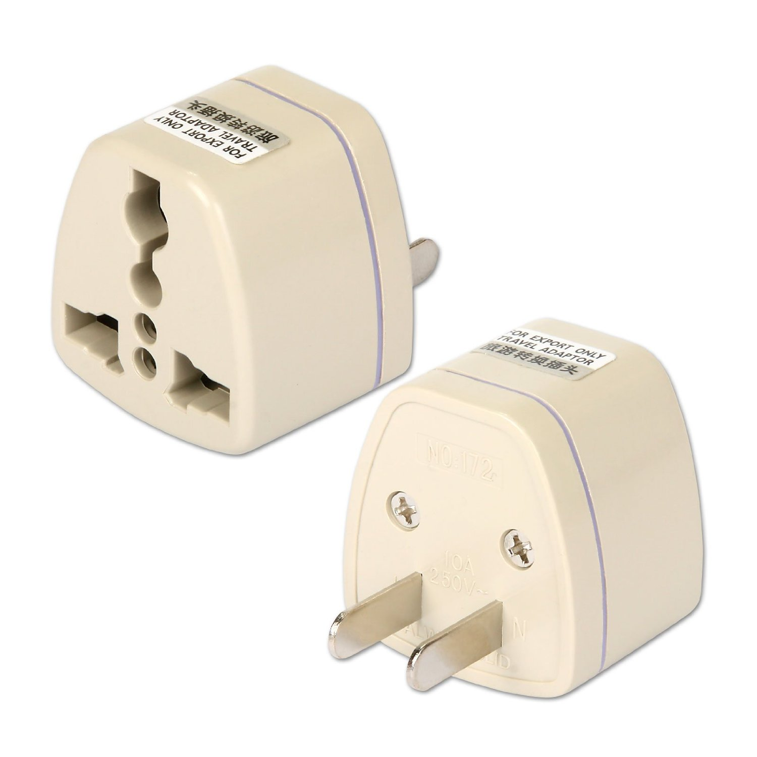 Generic UK/EU/AU/NZ to US USA-Style Travel Adapter Adaptor AC Power Plug Converter (Pack of 10)