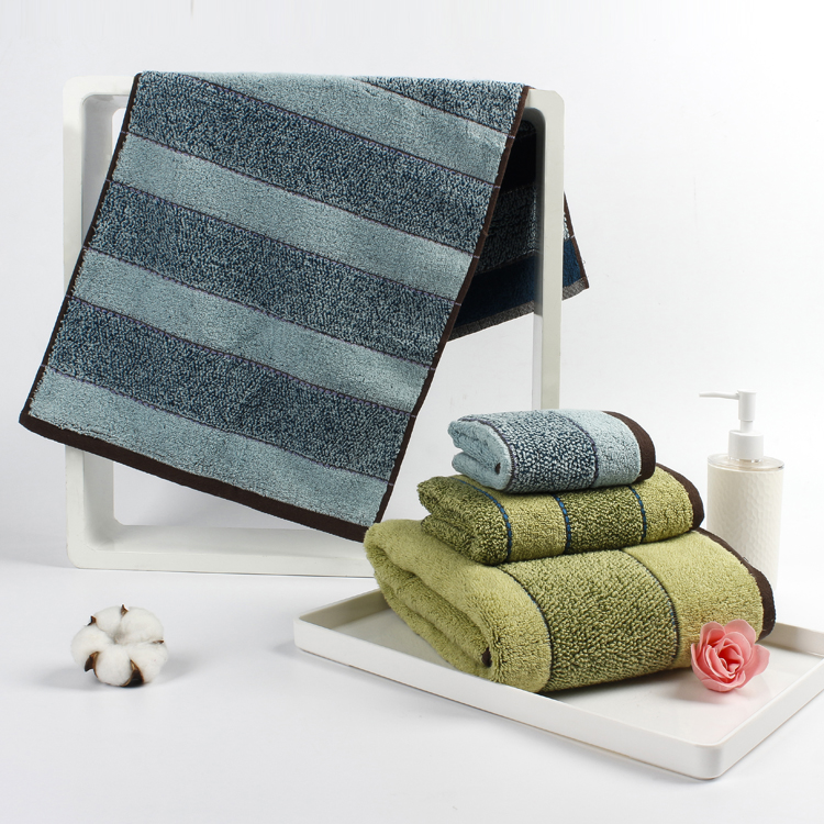 Wholesale Zero twist two colors stripe bath towel towels100% cotton towel bath towel for promotion