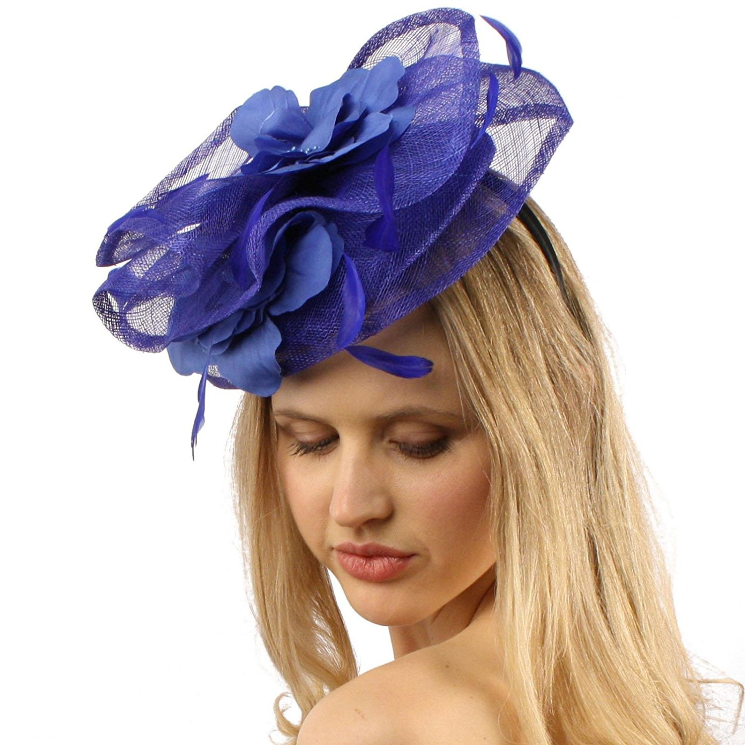 Get Quotations · Sinamay Disc Feathers Floral Fascinators Headband  Millinery Cocktail Hat f116c70446fa