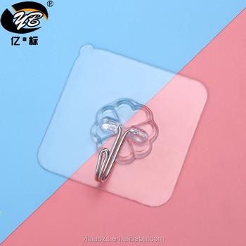 wholesale custom transparent sticky hook wall hooks pvc plastic colorful flower wall hooks