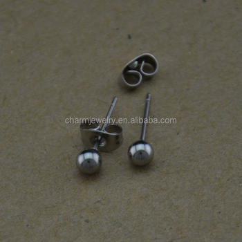 Bxg023 Stainless Steel Round Ball Posts Pin Earring Stud Nickel Free Findings For Jewelry