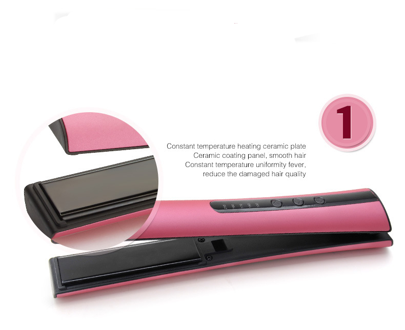 Wireless use fast hair straightener cordless hair flat iron with charger holder beauty care hair smooth curling iron