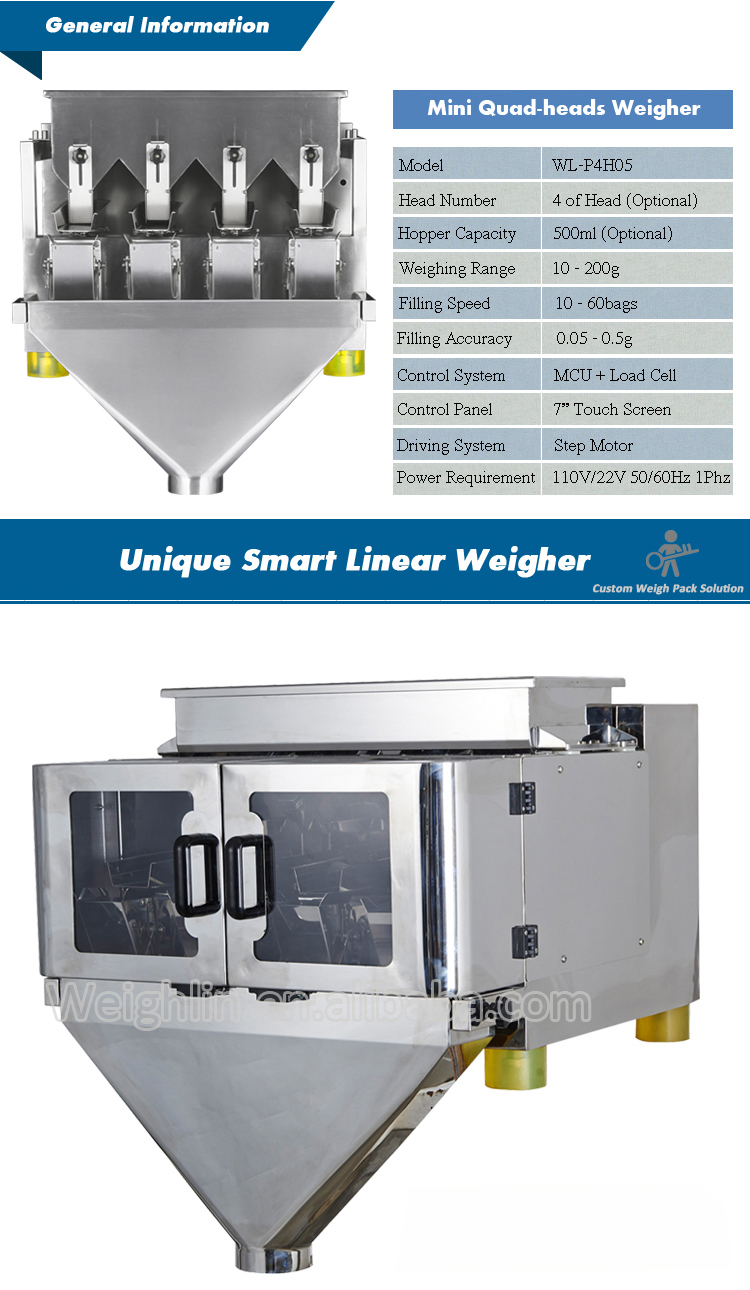 Smart  four heads linear weigher automatic packaging machine for filling small granules salt sugar