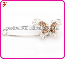 2012 new arrival little yellow butterfly diamond brooch