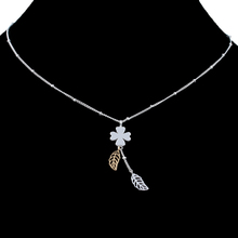 Fashion Gift Necklace Two Tone Plating Real Silver/18K Gold Plated Copper Leaf Four Leaf Clover Jewelry Necklaces