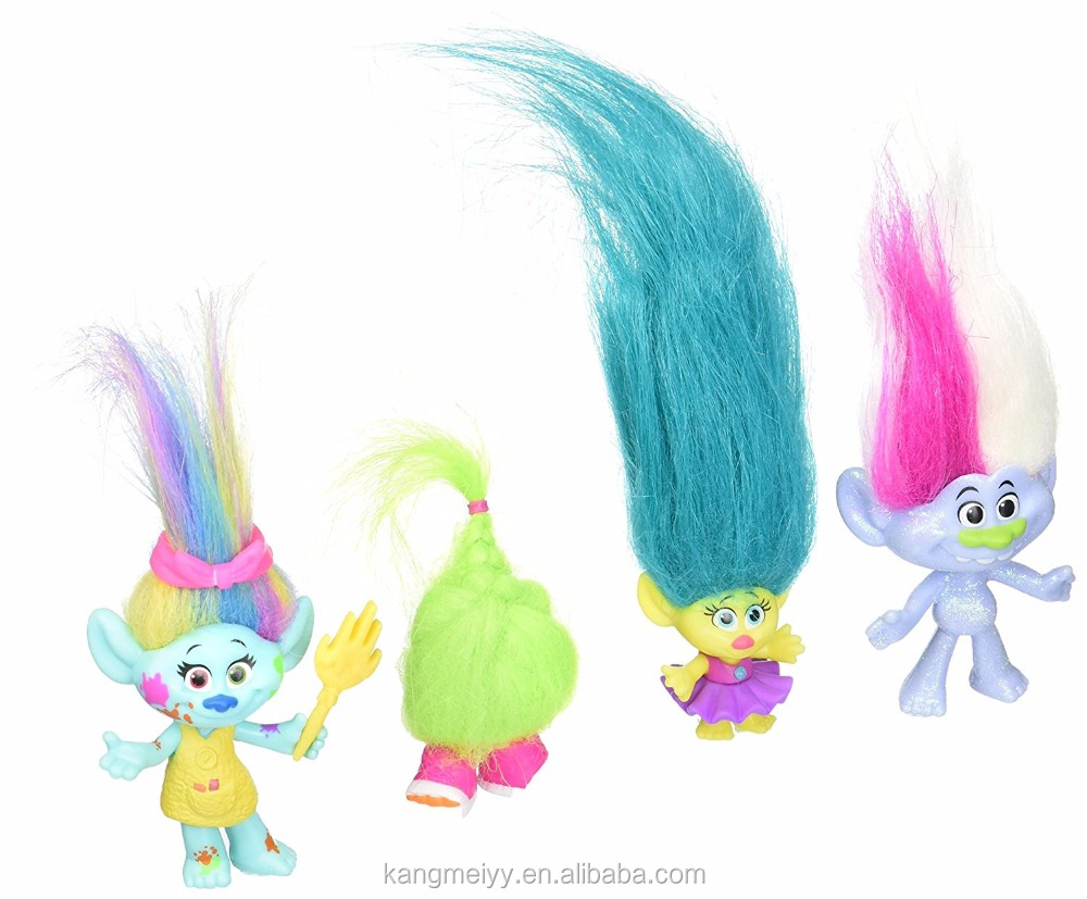 Good Quality DreamWorks Trolls Wild Hair 4 Pack plastic Action figure toy