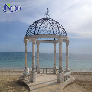 Wholesale custom modern natural carving stone western home square outdoor marble gazebo