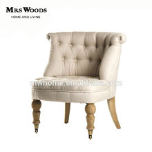 button tufted tub chair, wooden frame french linen upholstered tub chair, tub chair
